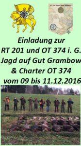 charter ot 374 schwerin mit jagd auf gut grambow 09 bis 11.12.2016, Einladung