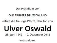 Ehrenmitglied und OTD-Pastpräsident Ulver Oswald verstorben